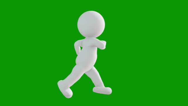3D icon man figure running animation. Character animations. Pictogram people unique silhouette vector Icon Set. Animated poses on chroma key background. Moving activity variation.