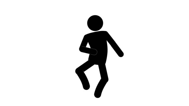 Icon Man Figure Running Animation Of Front View. Character 2D Cartoon Animations. Pictogram People Unique Silhouette Vector Icon Set. Animated Poses on Transparent Background. Moving Activity Variation
