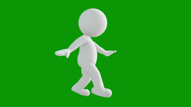 3D-Symbol Mann Figur flanieren Animation. Zeichenanimationen. Piktogramm Menschen einzigartige Silhouette Vektor Icon Set. Animierte Posen auf Chroma-Key-Hintergrund. Verschieben der Aktivitätsvariation. – Video