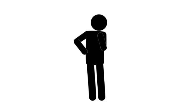 vídeos y material grabado en eventos de stock de icono hombre figura pensando animación de la vista frontal. animaciones de dibujos animados de personajes 2d. pictogram personas único silueta vector icono set. poses animadas en fondo transparente. variación de la actividad móvil - pegajoso