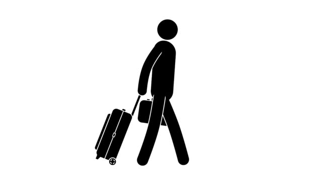 icon man goes with luggage. - people icon video stock e b–roll