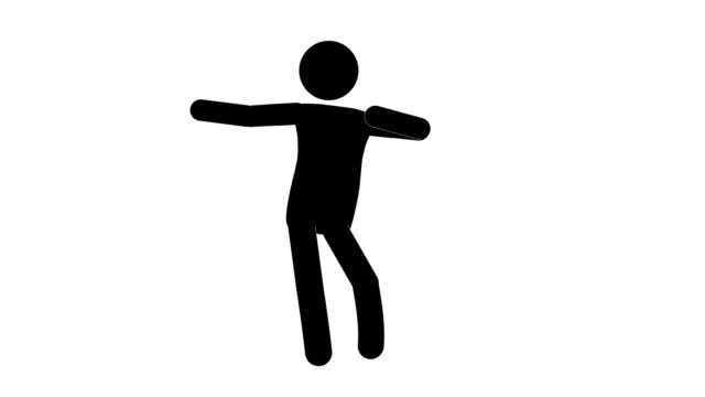 Icon Man Hula Dance Figure Animation. Character 2D Cartoon Animations. Pictogram People Unique Silhouette Vector Icon Set. Animated Stickman Poses on Transparent Background. Moving Activity Variation