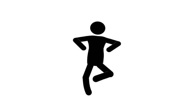 vídeos y material grabado en eventos de stock de animación de la figura de salto del hombre icono. animaciones de dibujos animados de personajes 2d. pictogram personas único silueta vector icono set. poses de stickman animado en fondo transparente. variación de la actividad móvil - pegajoso