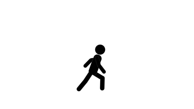 Icon Man Run and Stop Animation. Character 2D Figure Cartoon Animations. Pictogram People Unique Silhouette Vector Icon Set. Animated Poses on Transparent Background. Moving Activity Variation