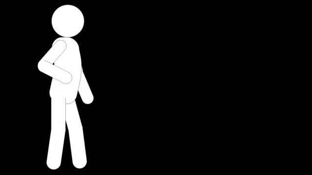 vídeos y material grabado en eventos de stock de icon man waiting animation. carácter 2d dibujos animados figuras animaciones. pictogram personas único silueta vector icono set. poses animadas en fondo transparente. variación de la actividad móvil - pegajoso