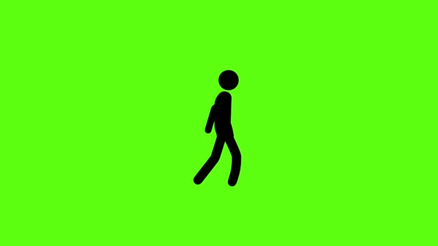 icon man with walking on green screen background - clip art video stock e b–roll