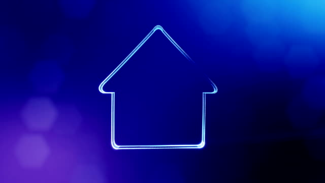 icon of house. Background made of glow particles as vitrtual hologram. 3D seamless animation with depth of field, bokeh and copy space.. Blue version 3 icon of house. Background made of glow particles as vitrtual hologram. 3D seamless animation with depth of field, bokeh and copy space.. housing logo stock videos & royalty-free footage