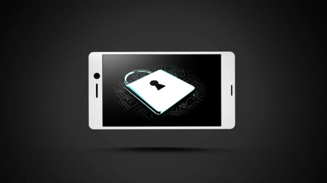 Icon of padlock rotating on smartphone display