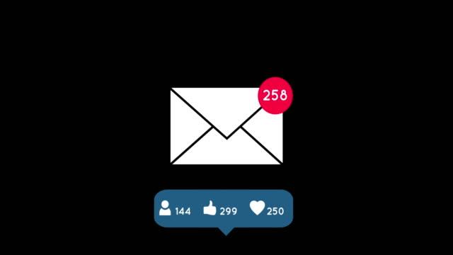 Icon of white envelope on black background 4k