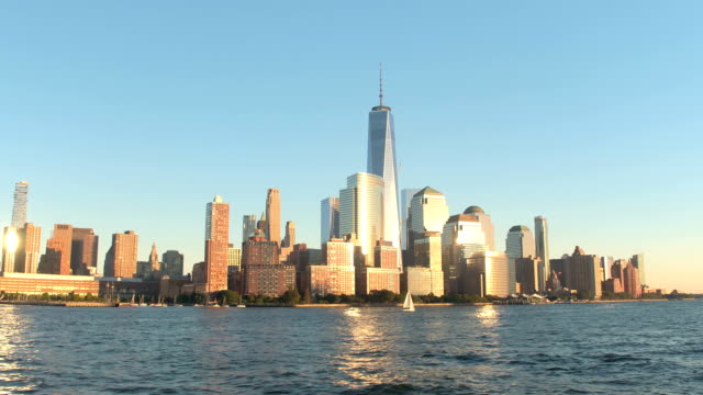 Iconic Downtown Manhattan financial district resplendent in golden setting sun video