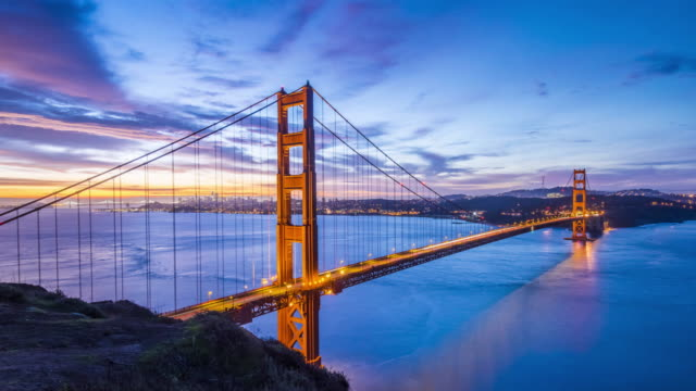 iconic golden gate bridge 4k uhd panoramic sunrise video time lapse with a great sky - ponte sospeso video stock e b–roll
