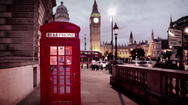 Iconic London Phone Booths in front of House of Parliament video
