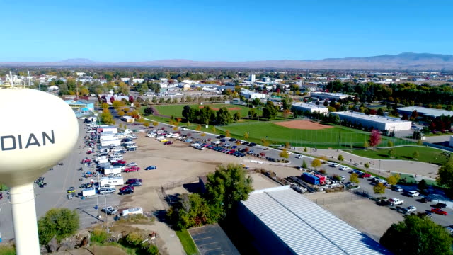 Iconic water tower and city baseball fields in Meridian Idaho video