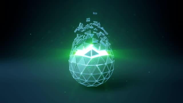 Forme de boule icosaèdre et teal incandescent core bouclables rendu 3D animation - Vidéo