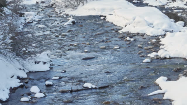 Icy Mountain River In The Snow