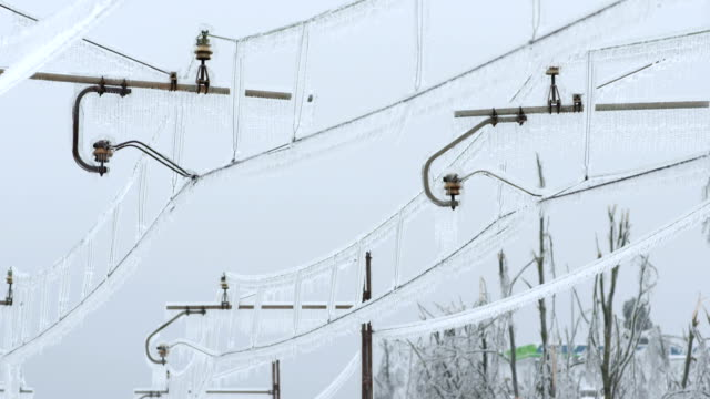 Icy Railroad Power Poles video