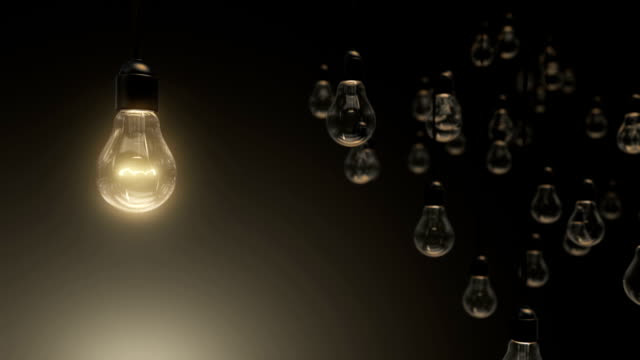 Idea concept with light bulbs on background video