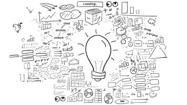 vídeos de stock, filmes e b-roll de ideia - infográficos desenhados à mão - os quatro elementos