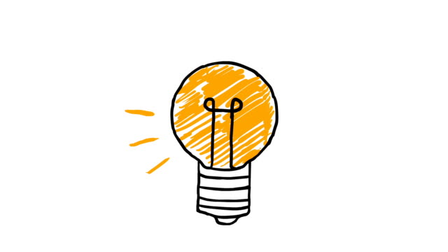 idea. light bulb sketch with concept of idea. doodle hand drawn bulb. - idea stock videos & royalty-free footage