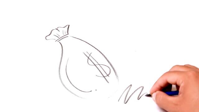 Bombilla del dibujo de la mano de ideas - vídeo