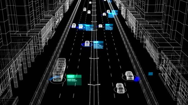 identifikationsüberwachung abstrakte system arbeitsprozess illustration auf city street seamless. looped 3d animation des kontrollsystems analyse von autos und fahrern auf der straße - drive illustration stock-videos und b-roll-filmmaterial