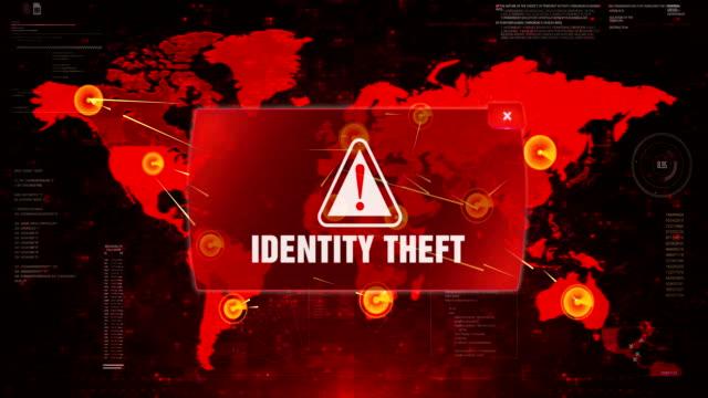 identity theft alert warning attack on screen world map. - kradzież tożsamości filmów i materiałów b-roll
