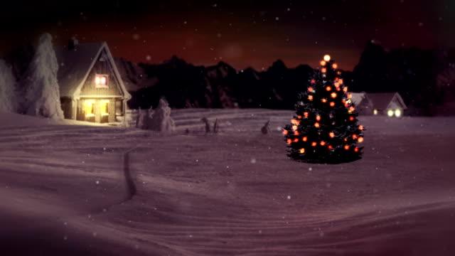 stockvideo's en b-roll-footage met hd: idyllic christmas tree in winter wonderland - christmas cabin