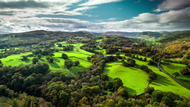 AERIAL: Idyllic country landcape in Wales, UK