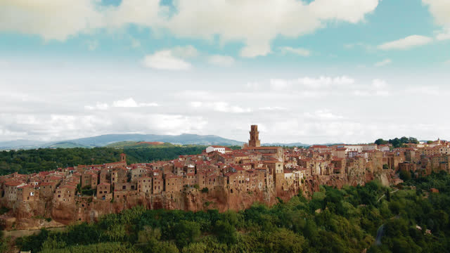 AERIAL Idyllic medieval town Civita di Bagnoregio