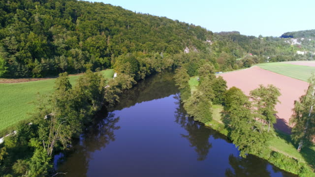 Idyllic River In Late Summer Flyover video