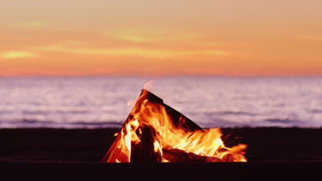 Idyllic Sunset Bonfire on Beach - video