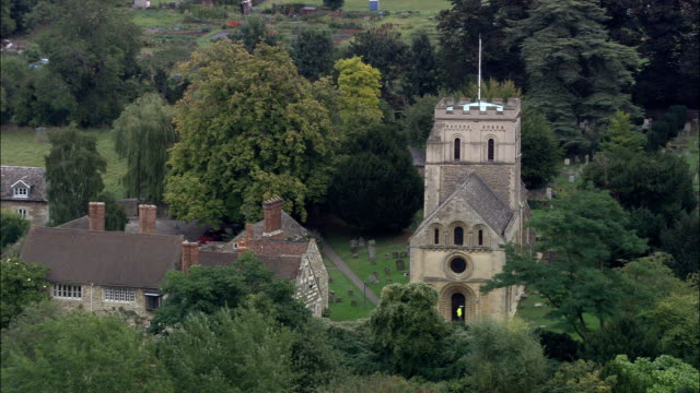Iffley Church  - Aerial View - England, Oxfordshire, Oxford, United Kingdom video