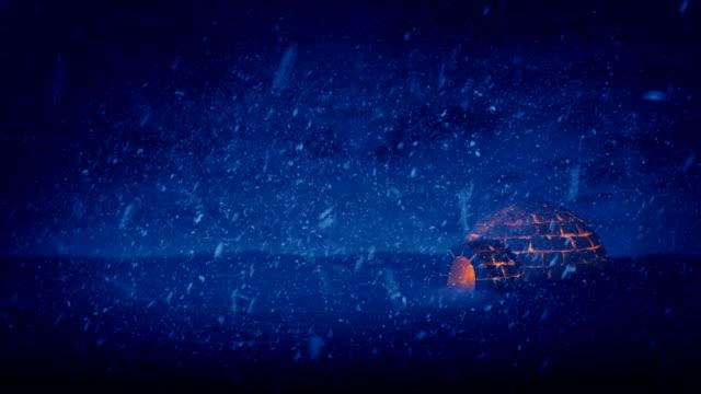 igloo illuminato in caso di notte - ice on fire video stock e b–roll