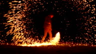 istock Igniting Wire Wool and Spinning it 817334818