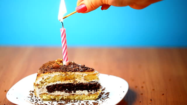 ignition candles on a piece of cake video
