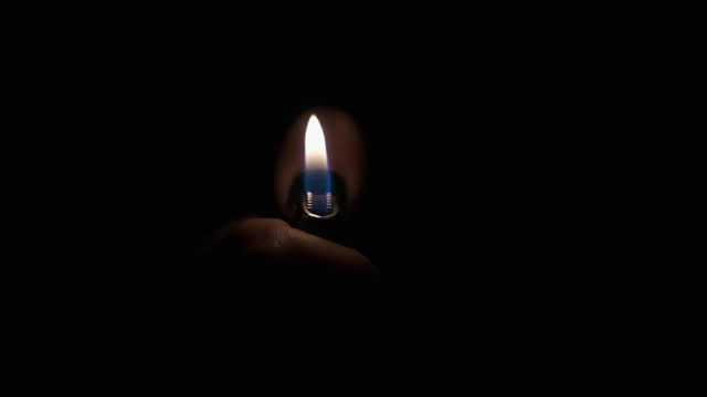 Ignition with a finger of a gas lighter. Slow motion. With space for design