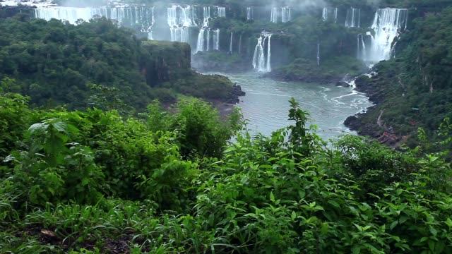 Iguassu Falls, the largest series of waterfalls of the world, view from Brazilian side. video