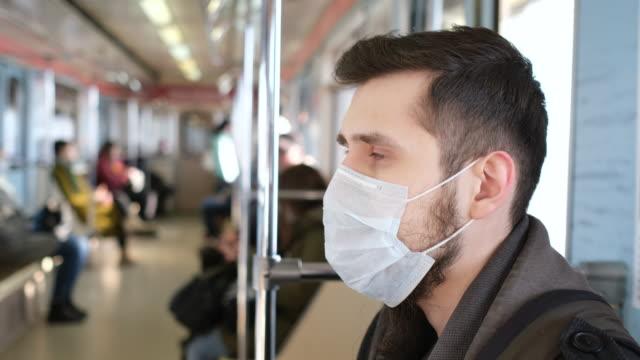 Ill Man Train Metro Subway. Mask People Coronavirus. Covid-19. Corona virus Mers video