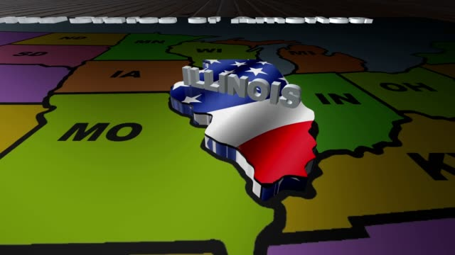 Illinois pull out from USA states abbreviations map video