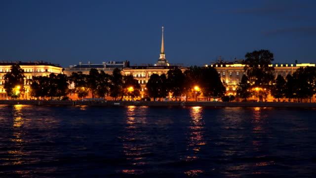 Illuminated buildings on the Neva embankment at night St. Petersburg video