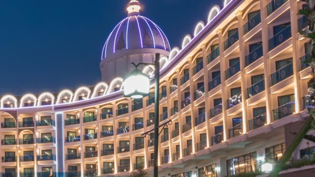 illuminated luxury resort hotel at night