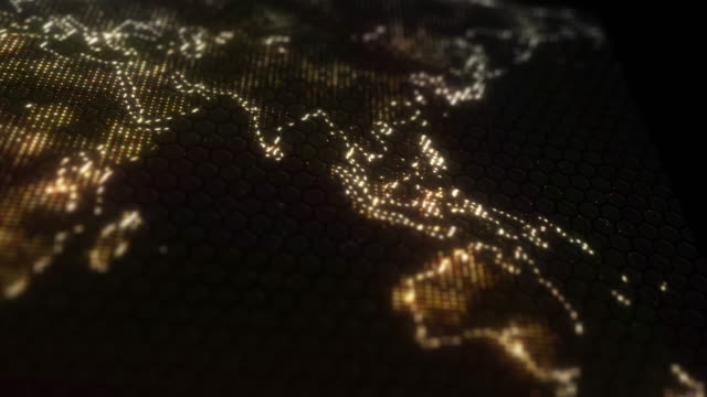 Illuminated Map of Continents video