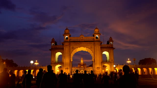 Illuminated Mysore palace At Dusk 4k Video video