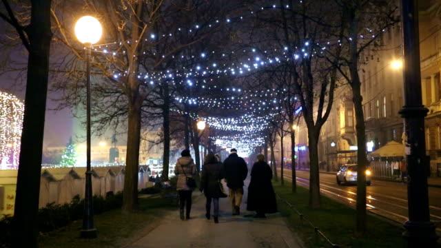 Illuminated tree alley video