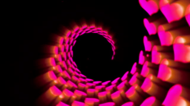 Illuminated Tunnel of Pink Hearts, Spin Lines Loop Animation, video