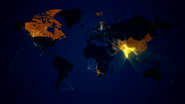 illuminated world map network connections communication loop. countries light up. - world map stock videos & royalty-free footage