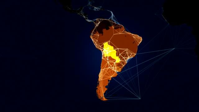 vídeos de stock, filmes e b-roll de iluminado mapa-múndi conexões de rede de comunicação loop. - país área geográfica