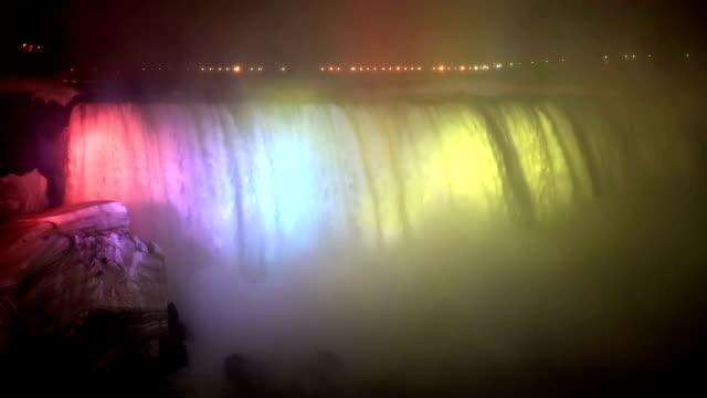 HD: Illumination light of Horseshoe Niagara Falls, Ontario, Canada video