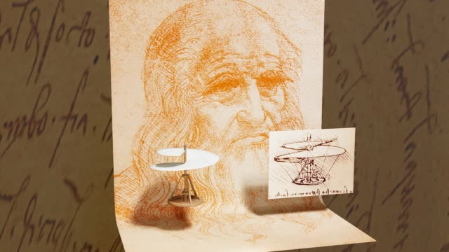 3d illustration - leonardo da vinci helicopter with his sketch and self portrait - classical architecture stock videos & royalty-free footage