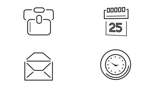 illustration des büro-icon-set - kalender icon stock-videos und b-roll-filmmaterial